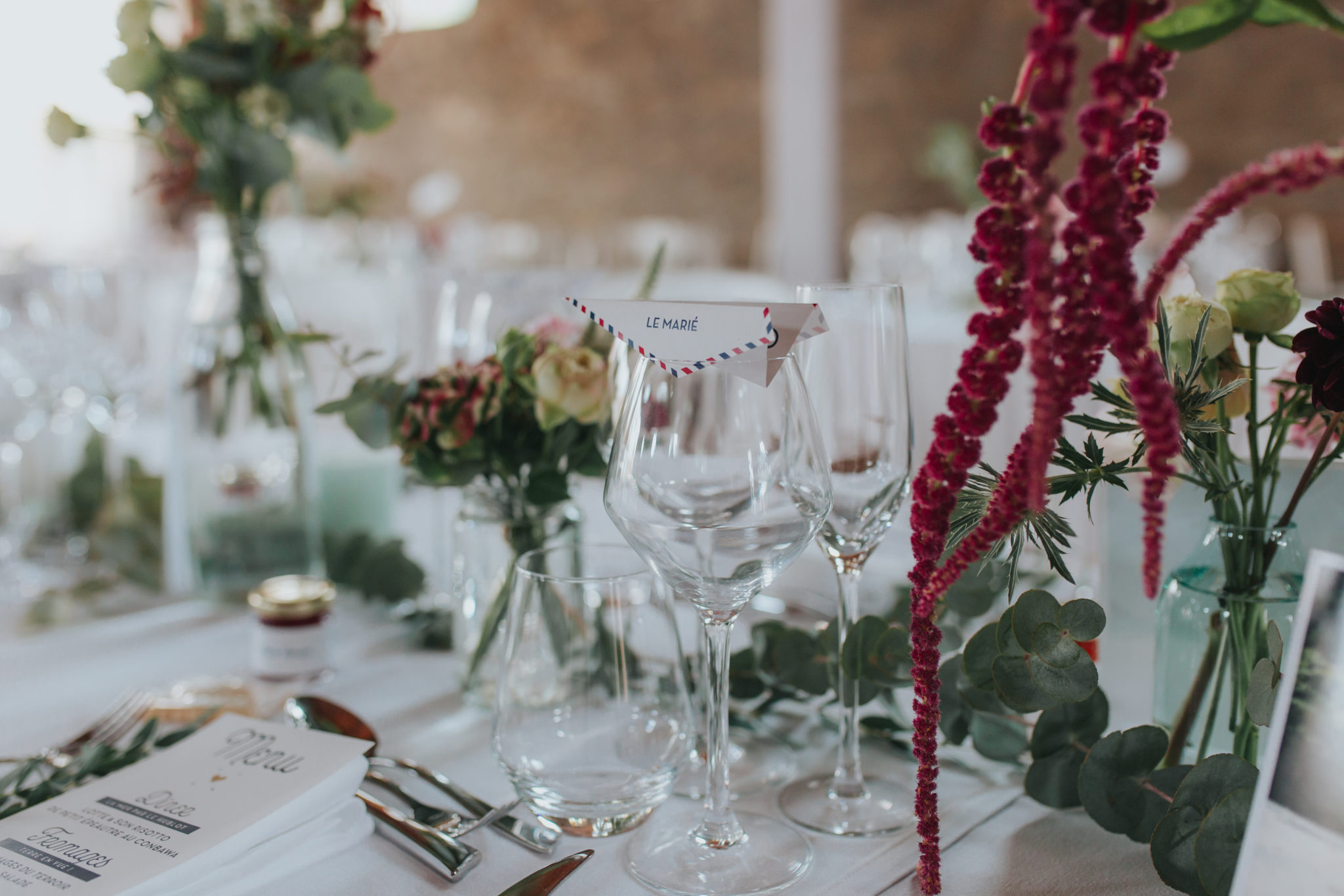 Décoration table thème voyage papeterie fleurs Manoir de la Fresnaye