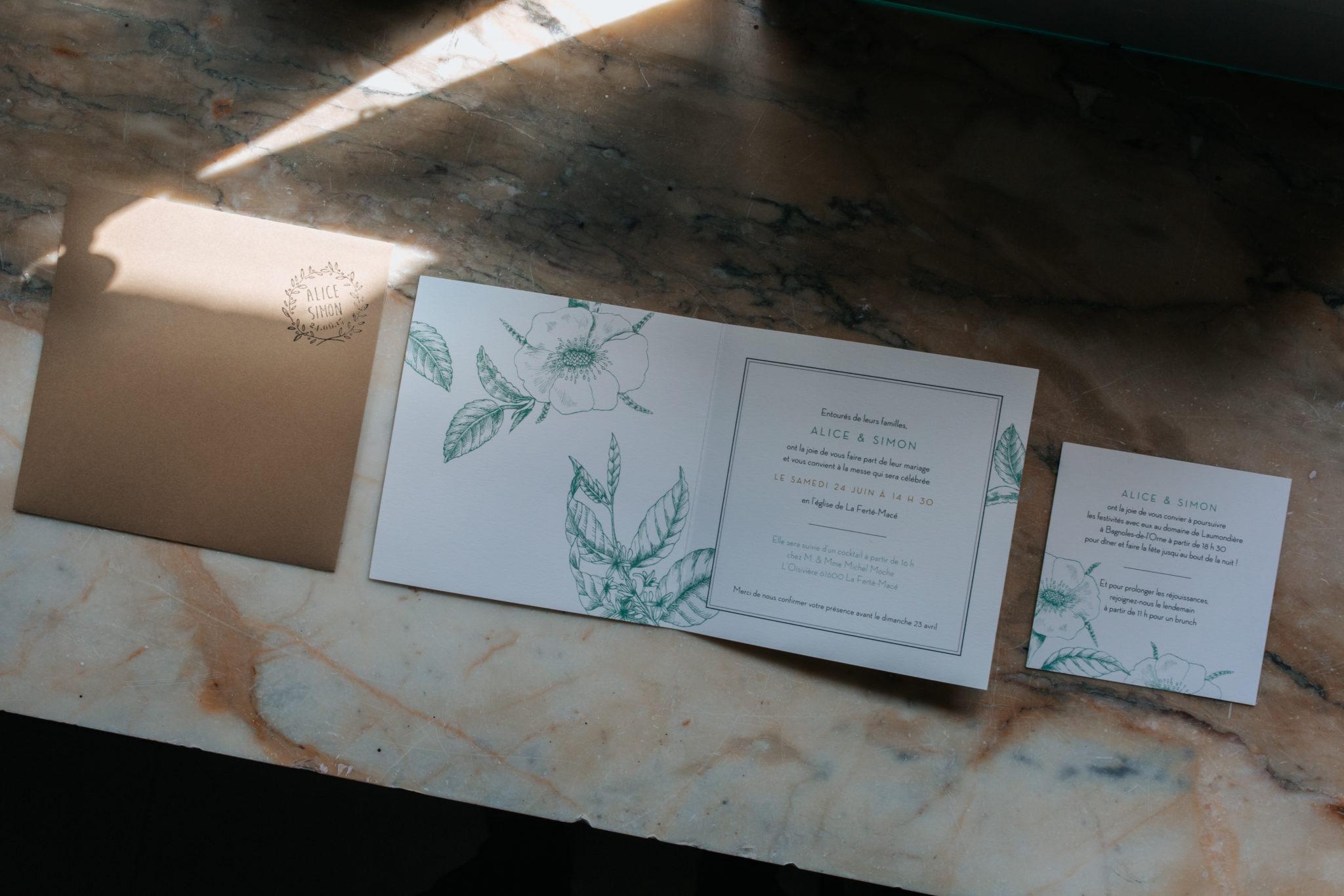 Faire part papeterie botanique kinfolk Domaine Laumondiere Bagnoles de l'Orne