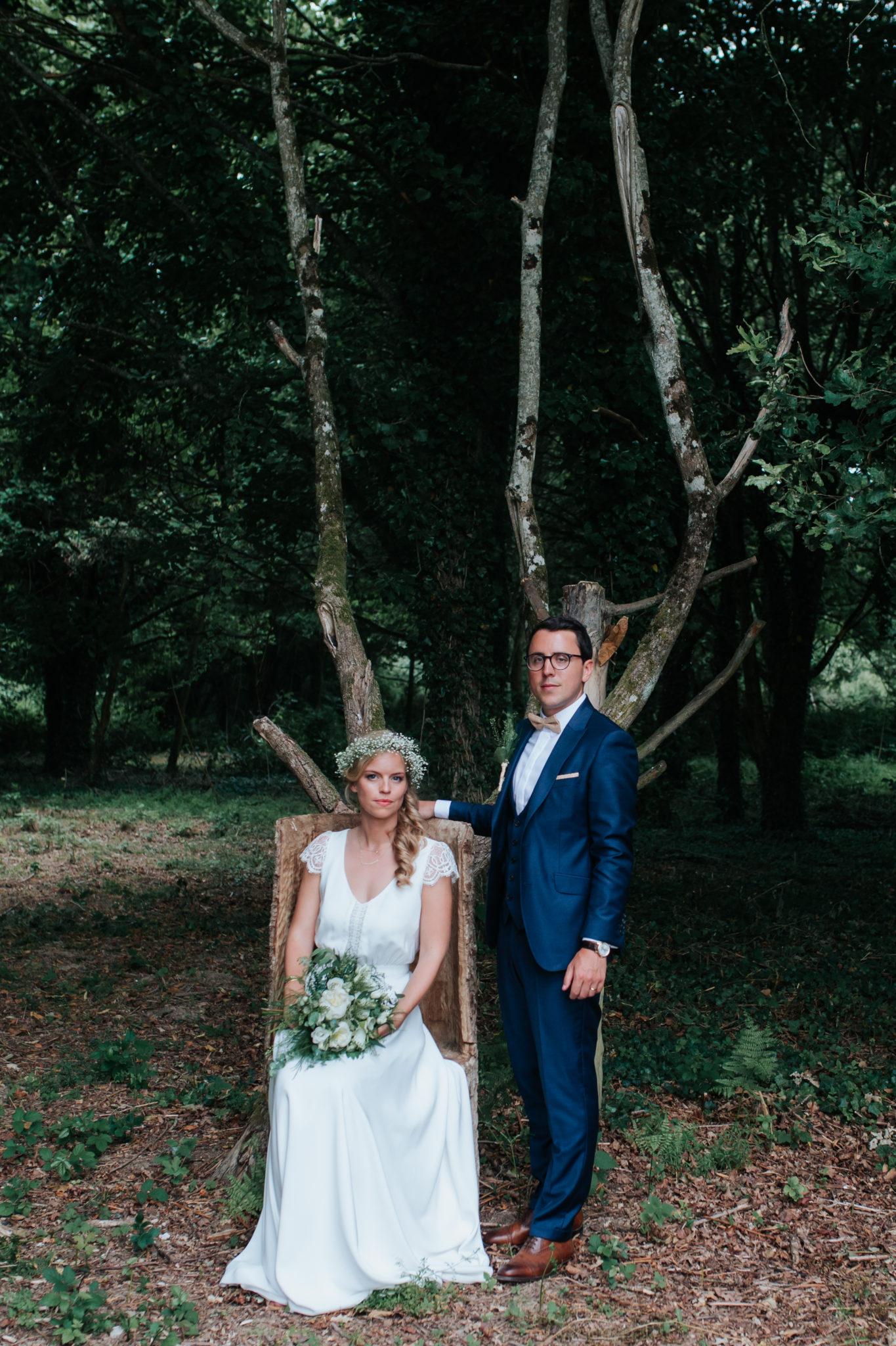 Portrait couple bois forêt Domaine Laumondiere Bagnoles de l'Orne