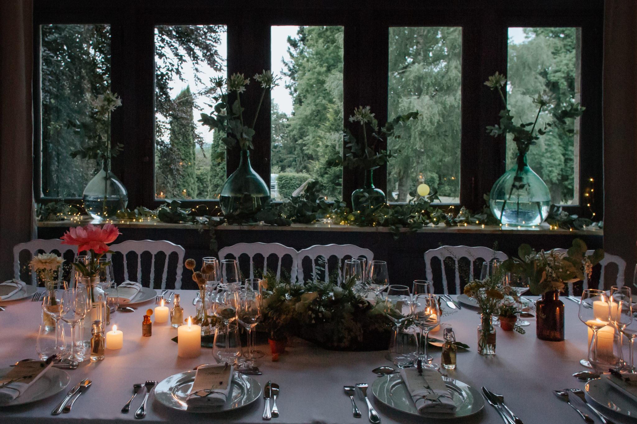 Décoration tables ambiance dîner Domaine Laumondiere Bagnoles de l'Orne