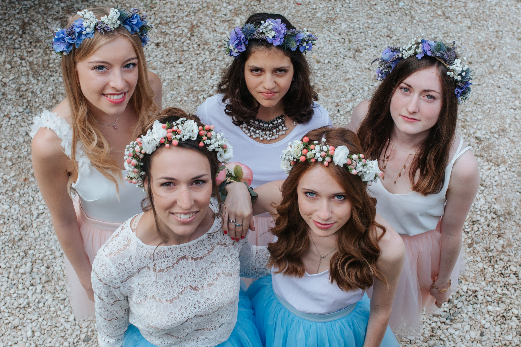 Bridesmaids Hameau Valouse Drome Provencale tutu tulle couronne fleurs