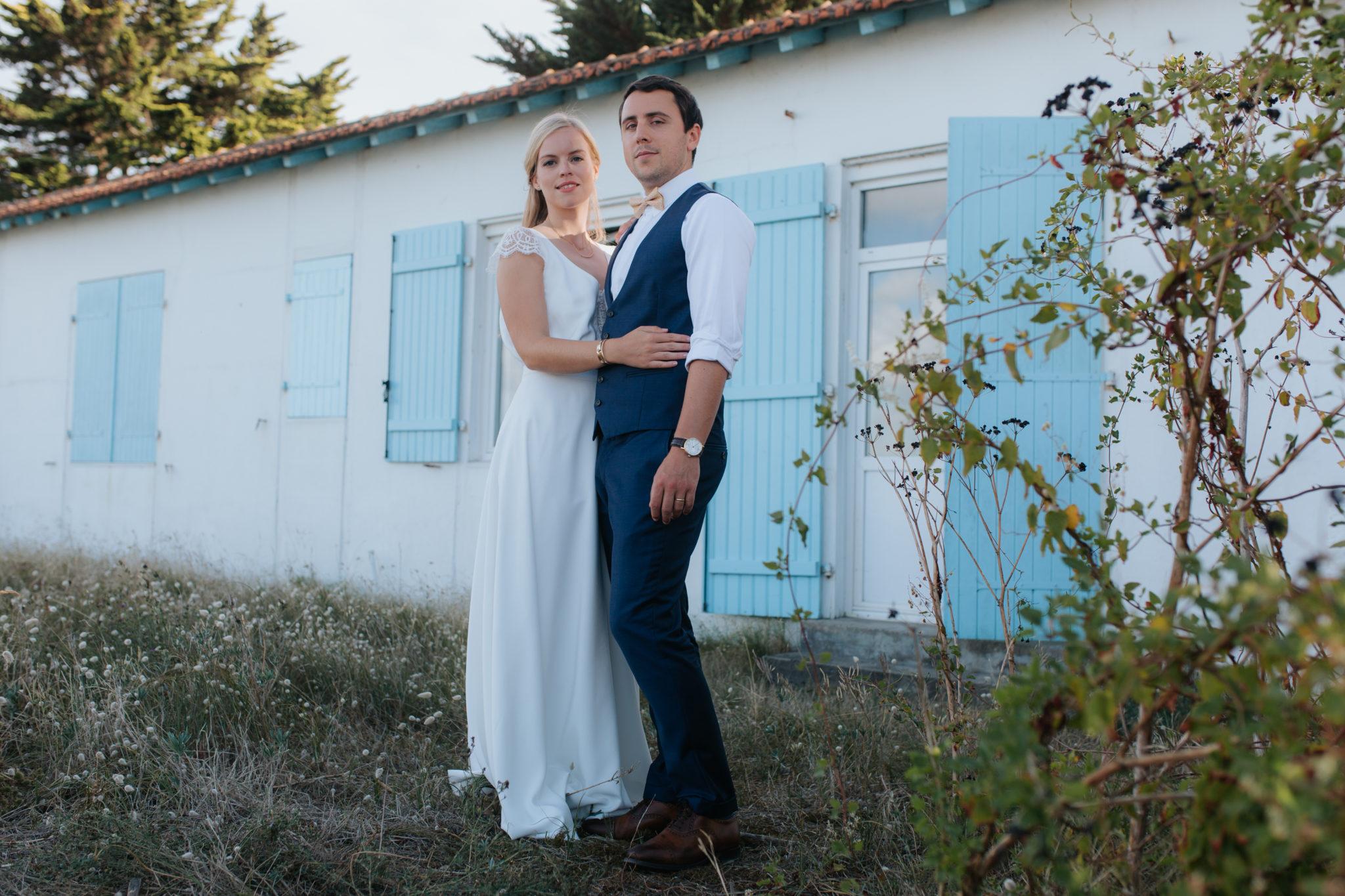 Portrait mariés Noirmoutier plage de mardi gras Le Vieil maison César Rosalie Sautet