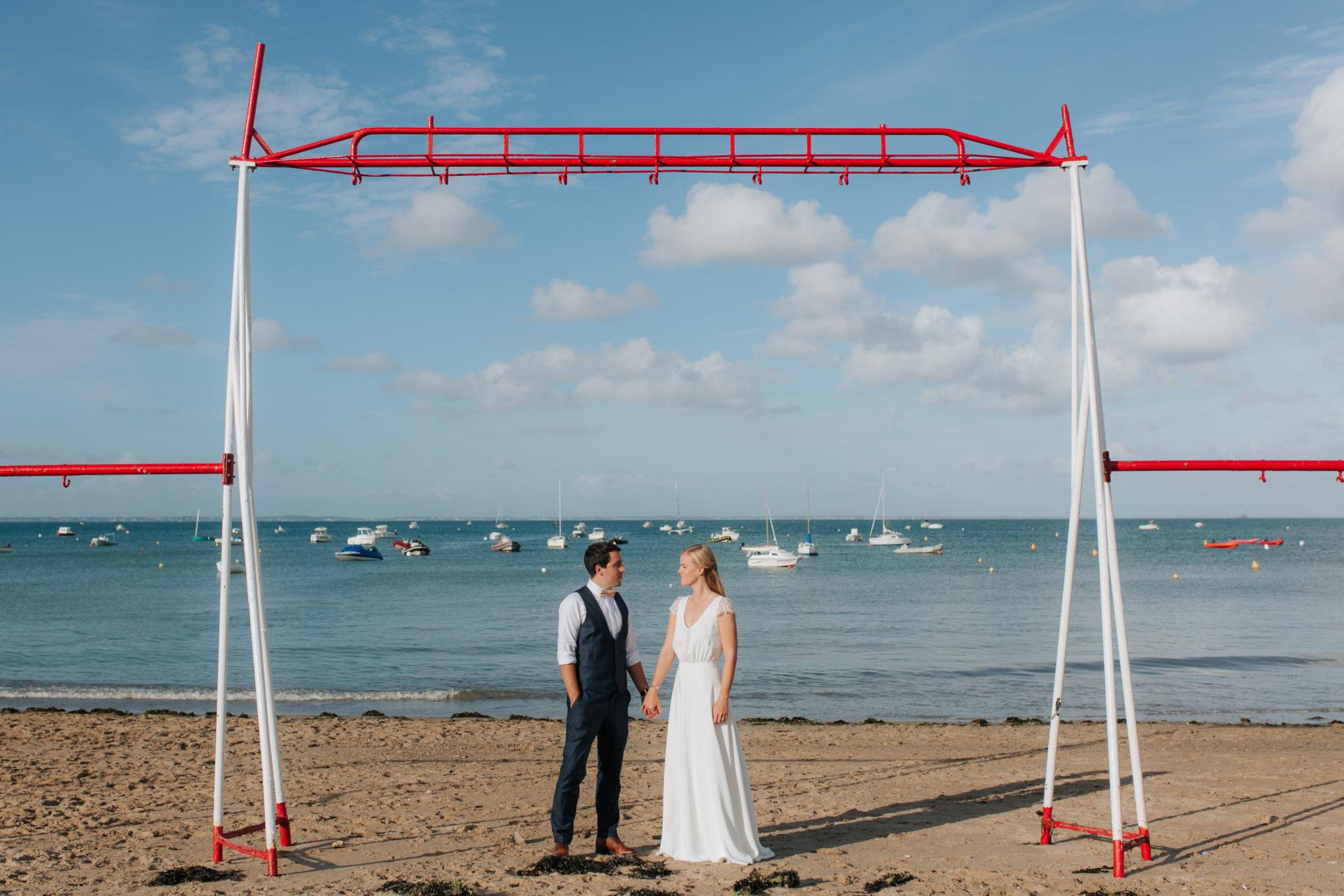 Portrait mariés Noirmoutier plage de mardi gras Le Vieil