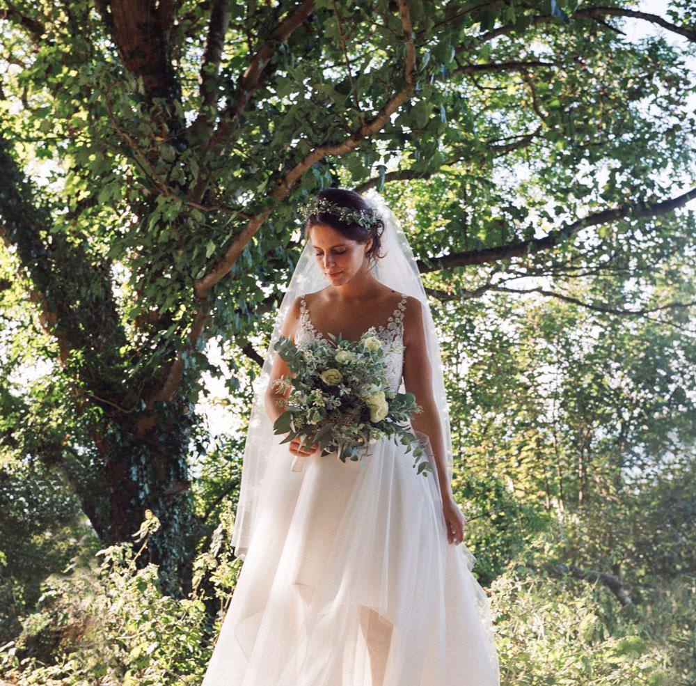 Portrait mariée corniche mer robe David Purves Deauville Bénerville