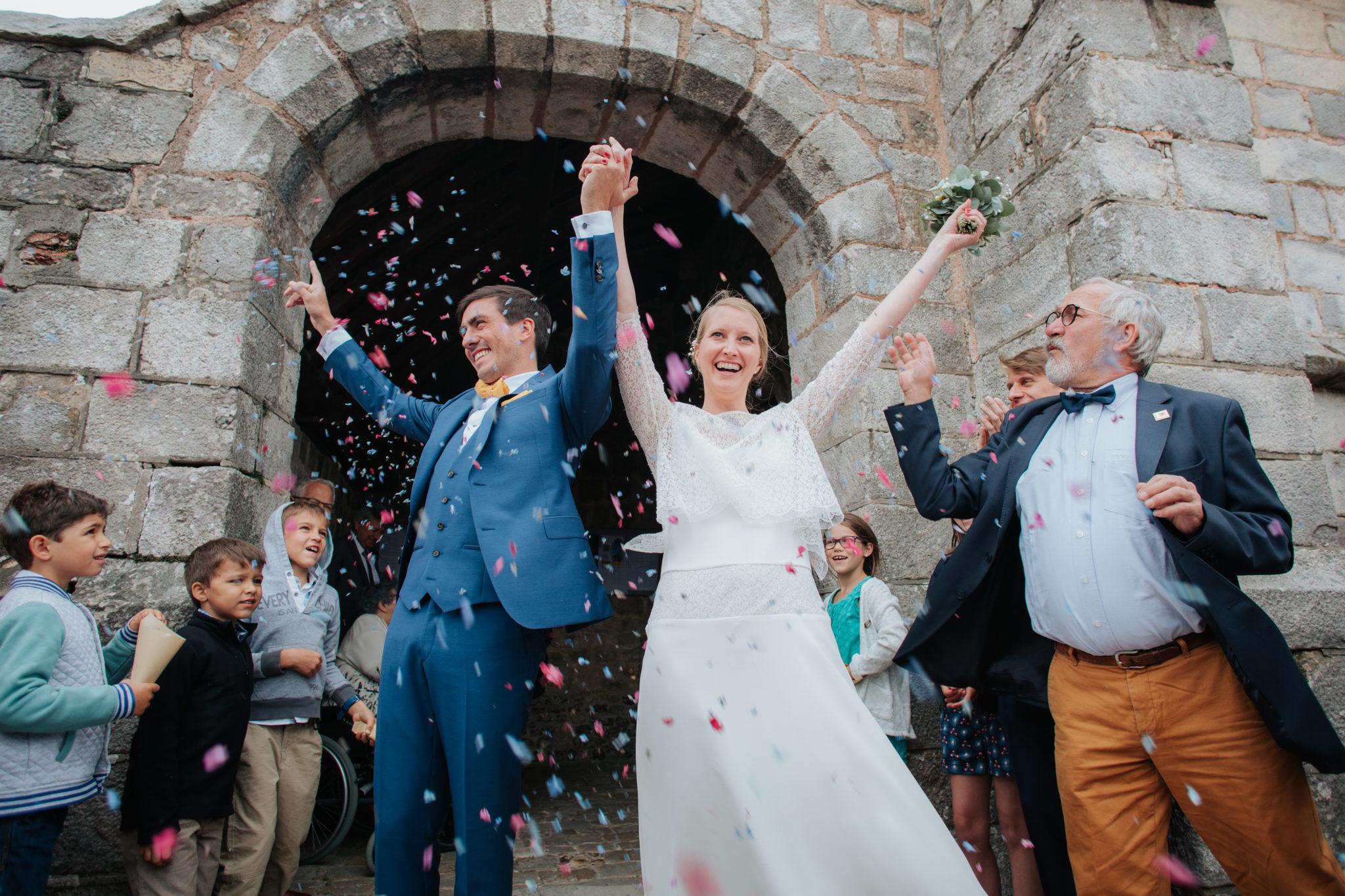 Sortie des mariés cérémonie religieuse église Saint Valéry Varengeville sur Mer