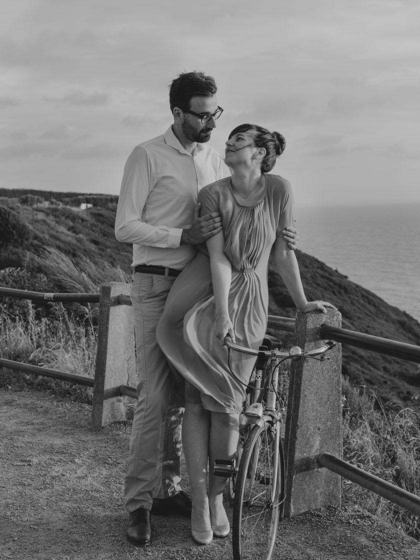 Portrait mariés vélo bicyclette Granville