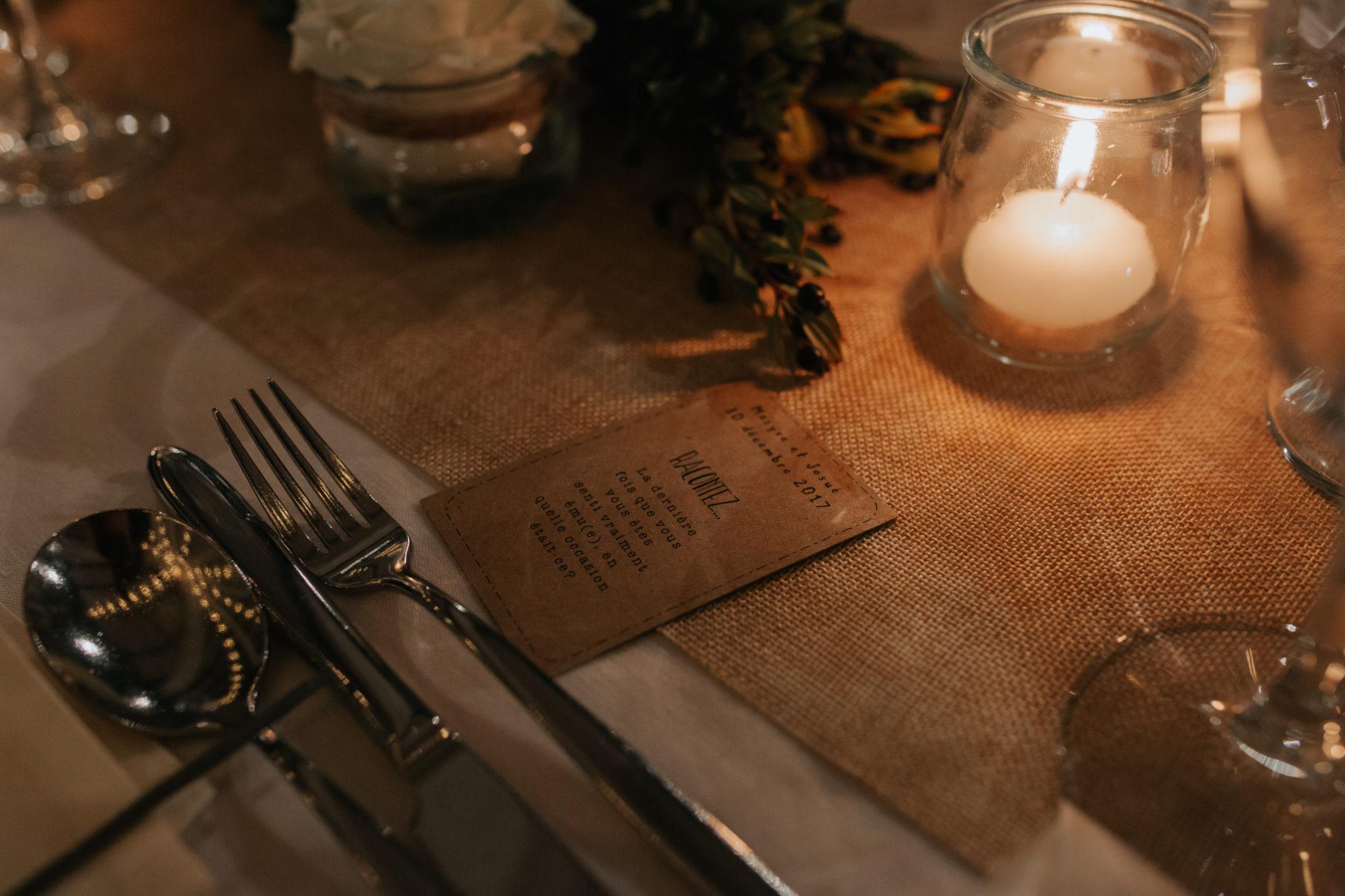 Décoration table dîner toile jute kraft Château de Naours mariage hiver Picardie Amiens