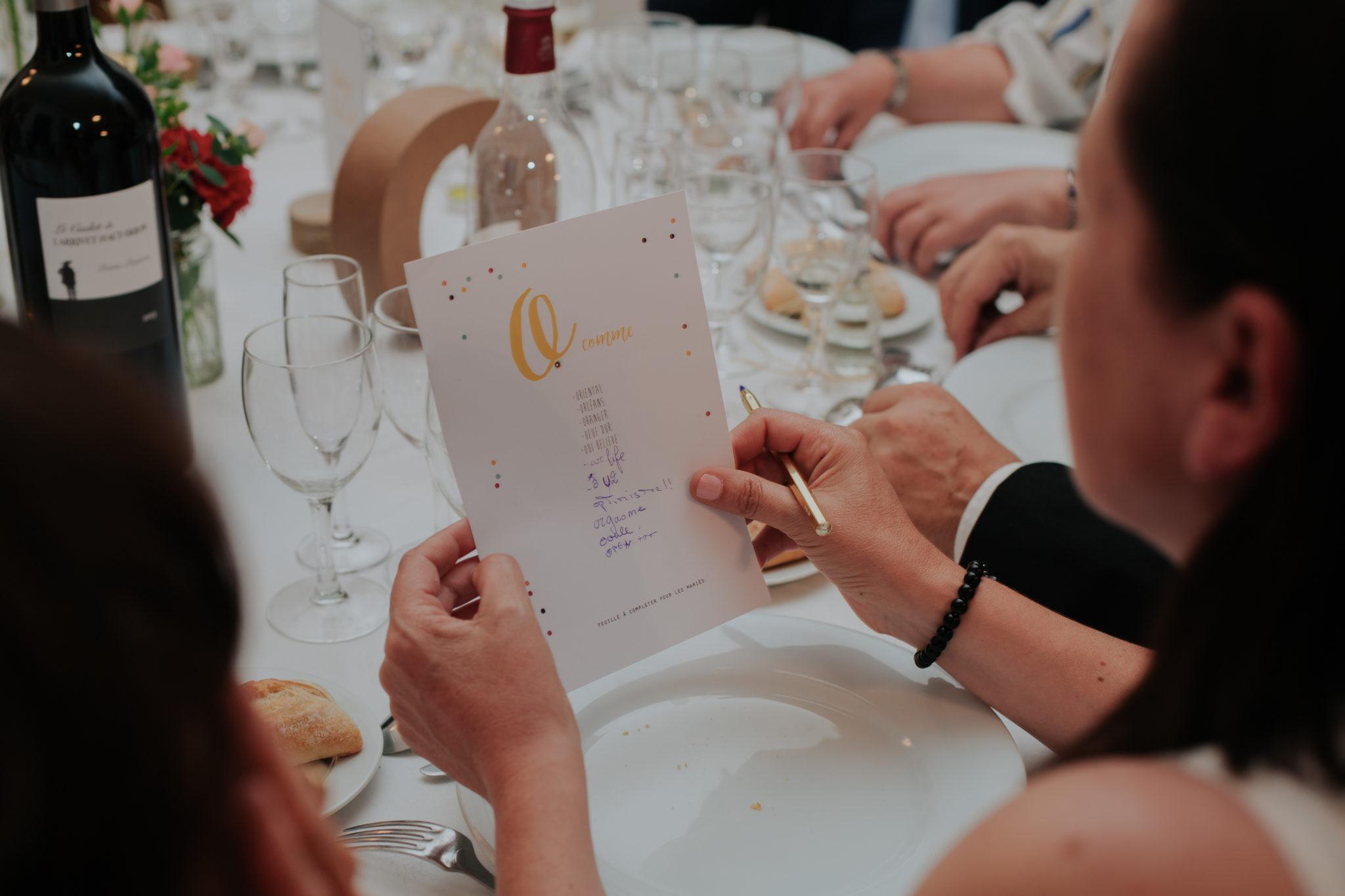 Jeu de table dîner Chateau de Pirey Dordogne