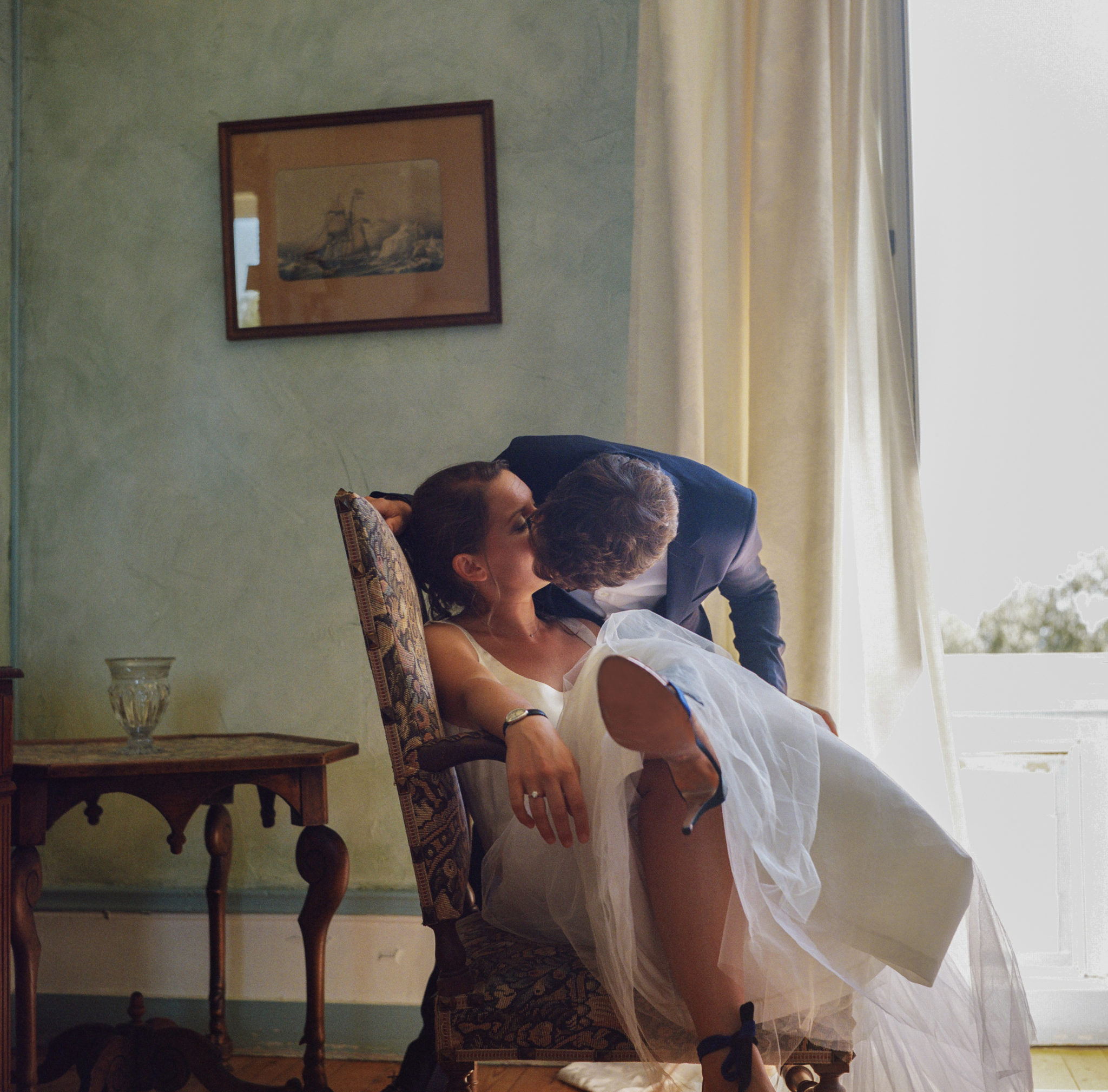 Portrait mariés chambre bleue Chateau-Saint-Marc St Nazaire La Baule Atlantique
