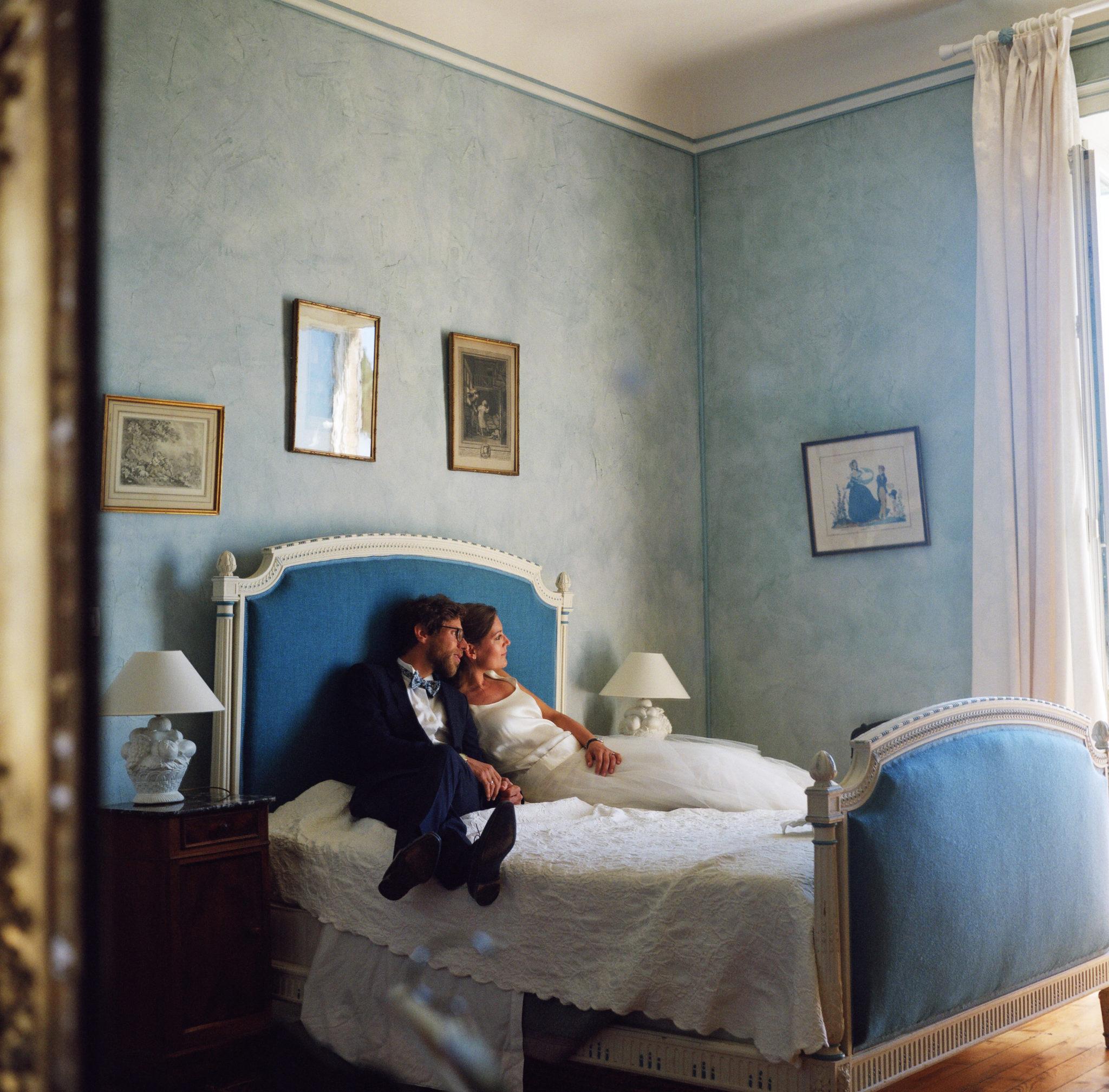 Portraits mariés chambre bleue Chateau-Saint-Marc St Nazaire La Baule Atlantique