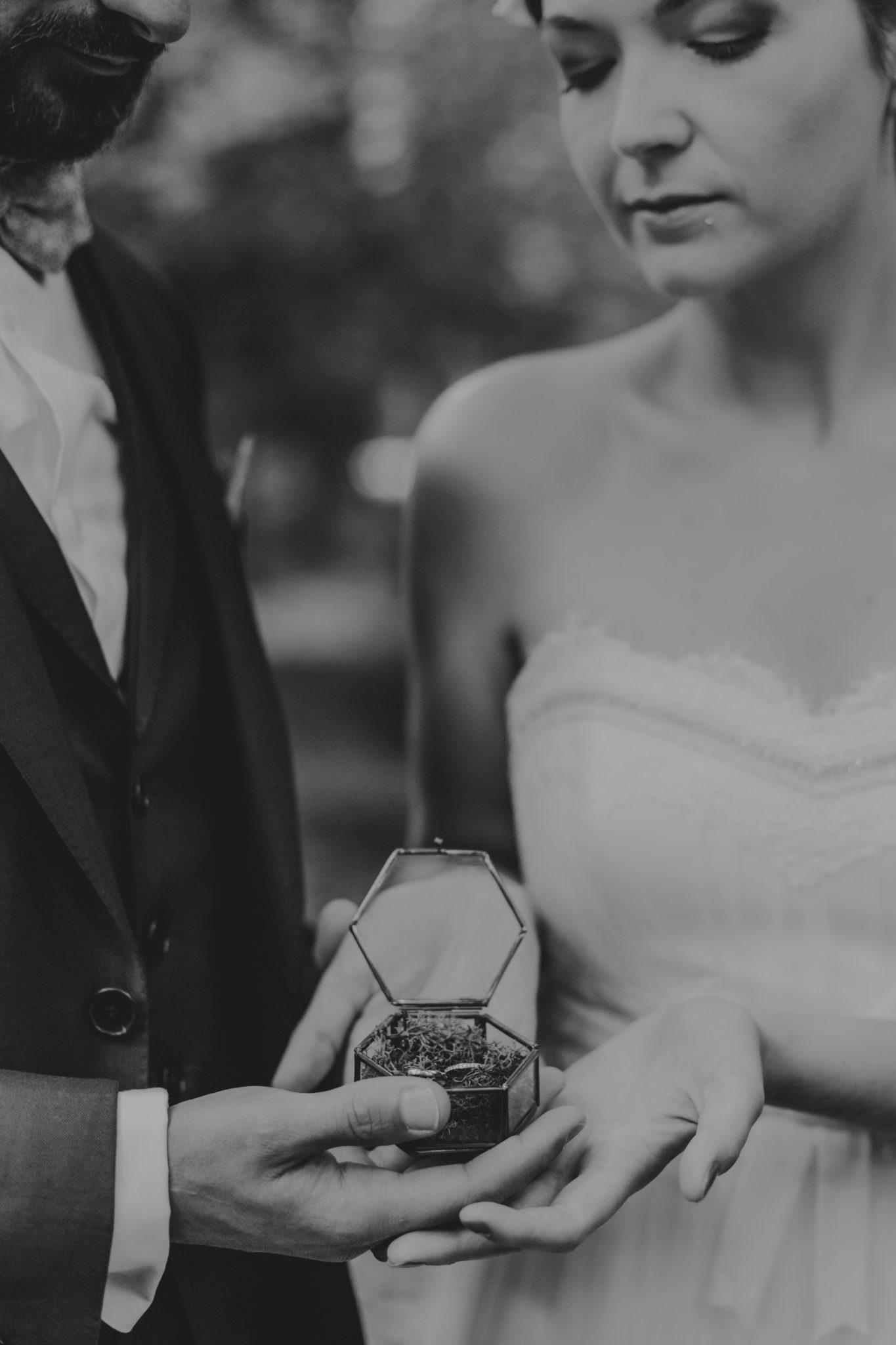 Portrait mariés alliances Lyon parc Tête d'or bois