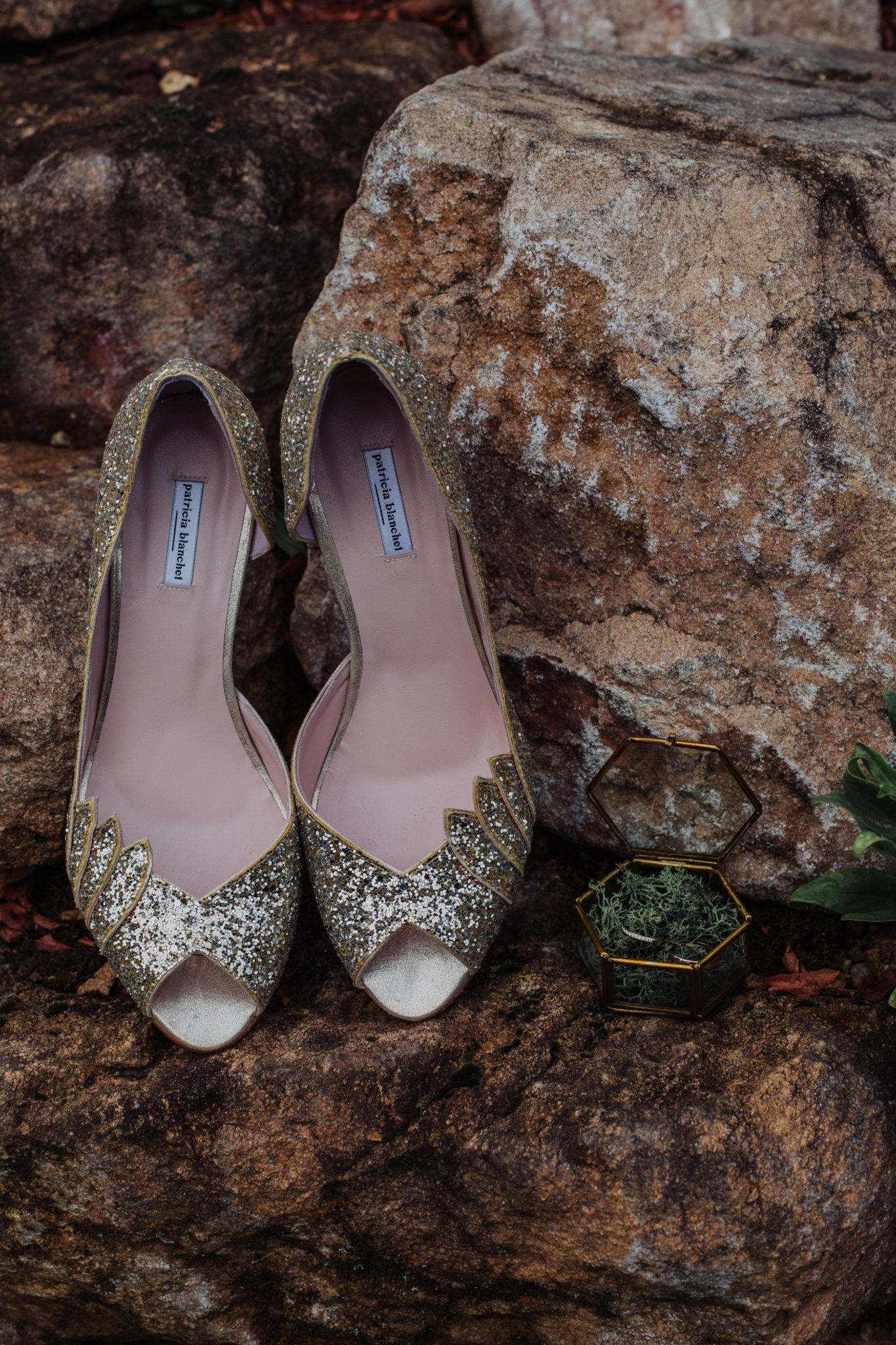 Chaussures Patricia Blanchet paillettes glitter alliances coffret verre mousse mariage Lyon Beaujolais