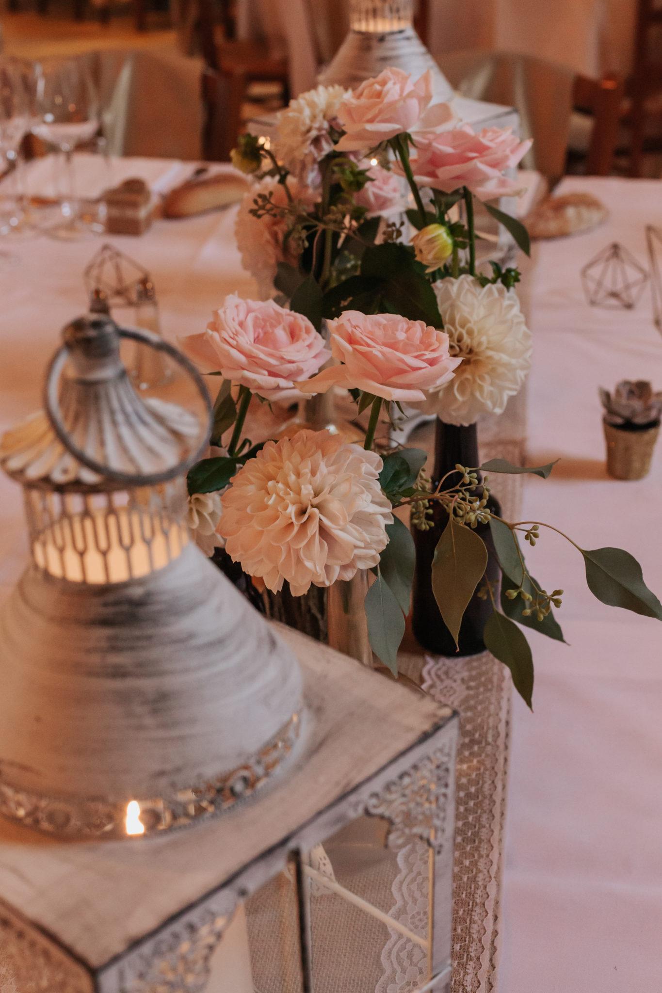 Décoration vase gold or rose diy Domaine de l'Ordre des Compagnons du Beaujolais Lacenas