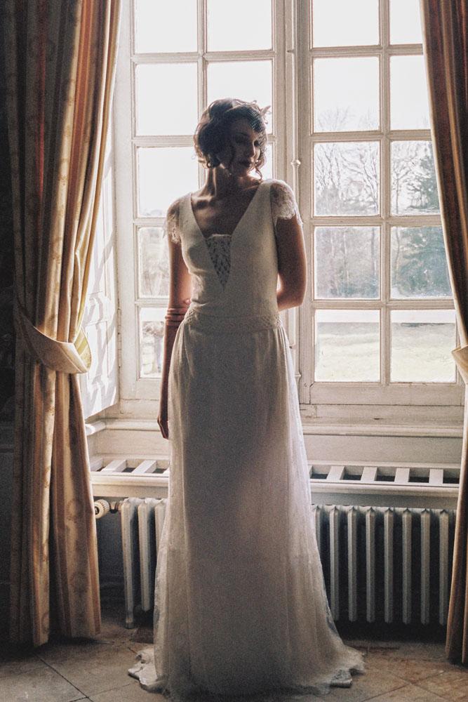 Le Mesnil d'O Le Wedding robe Caroline Takvorian Voilette Suzanne Ceremony