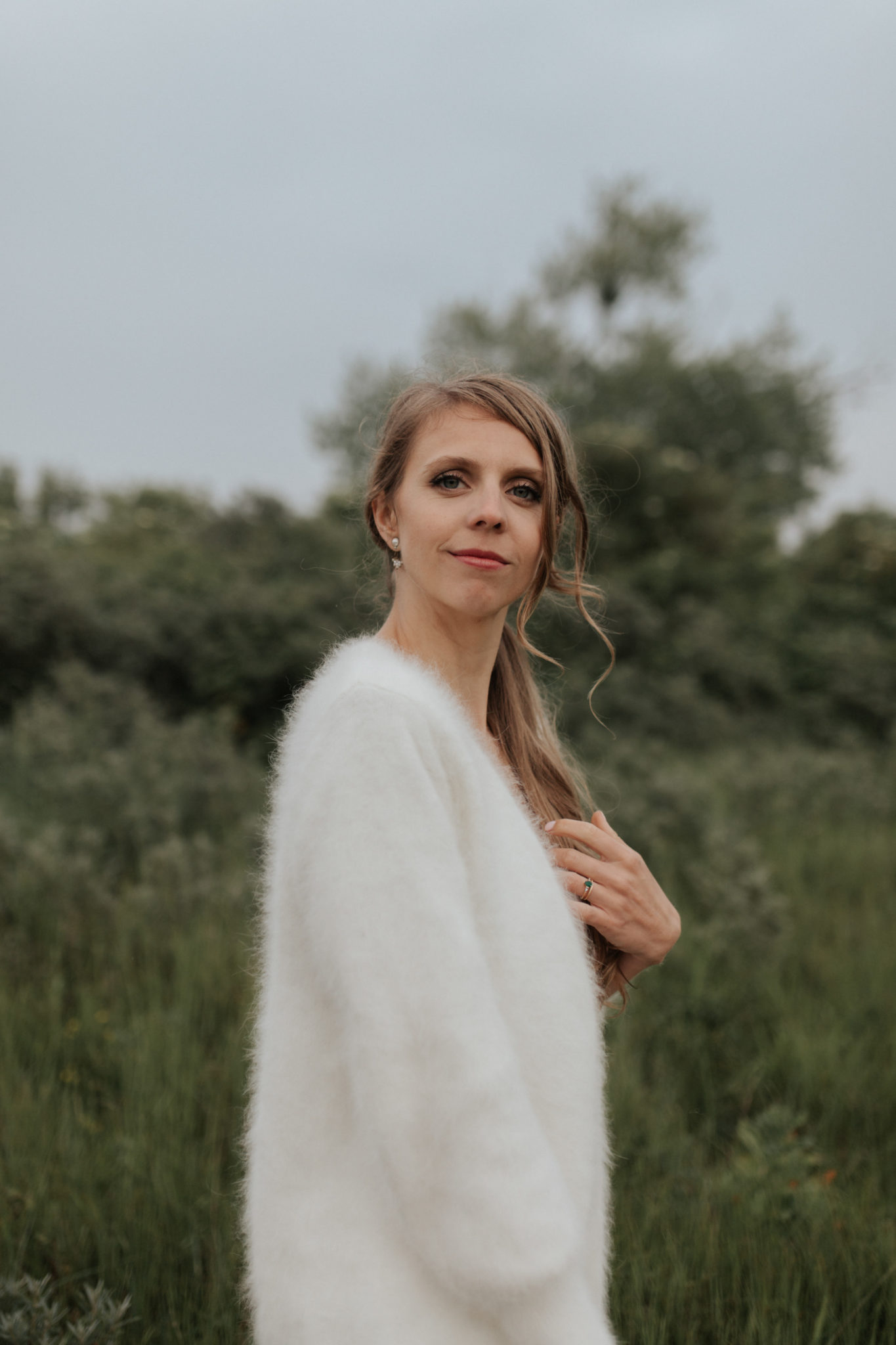 Portrait mariée robe rime arodaky Ouistreham pointe du siège