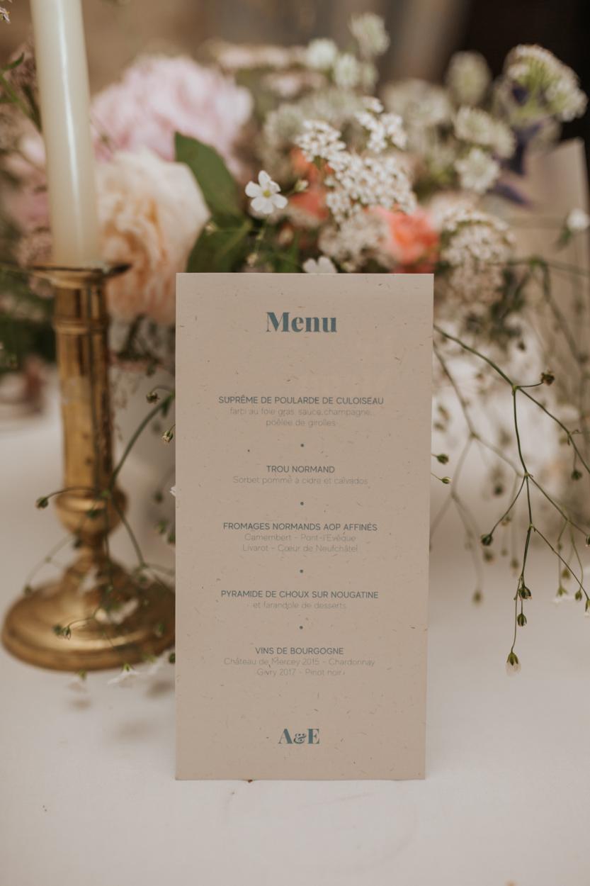 menu décoration table mariage chateau canon
