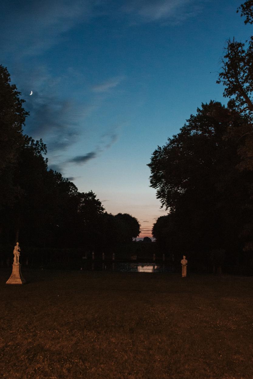 vue nuit plan d'eau parc château de canon