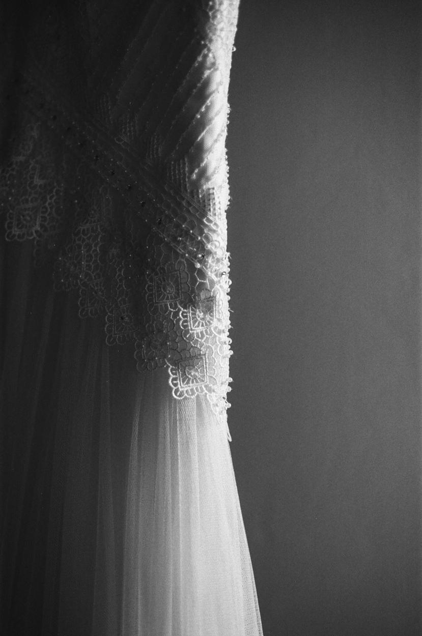 détail robe mariage franco-mexicain chateau morbecque