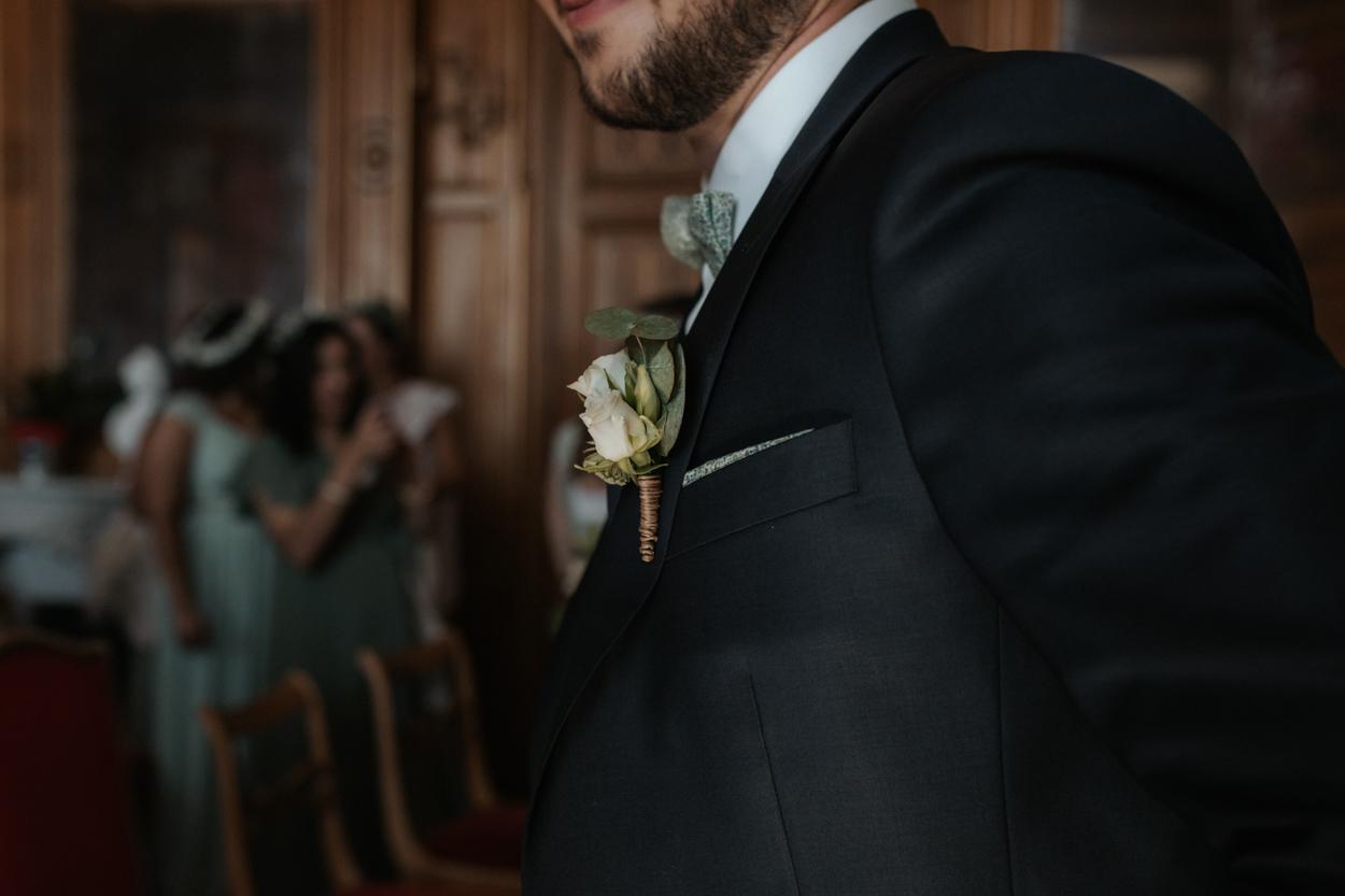 boutonnière marié rose blanche