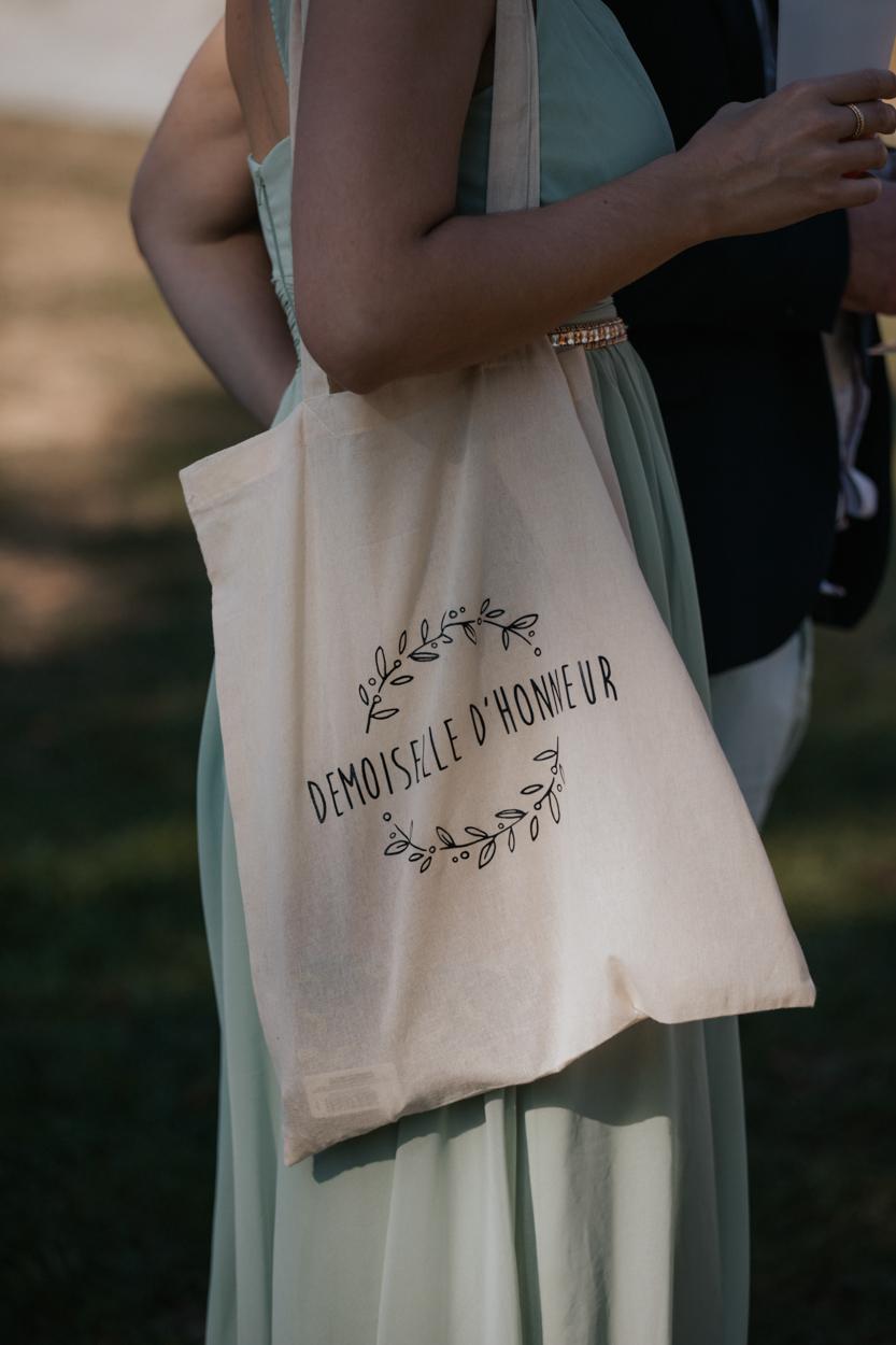 tote bag demoiselle d'honneur mariage domaine laumondiere