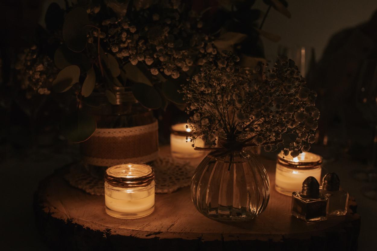 décoration table bougies nuit domaine laumondiere