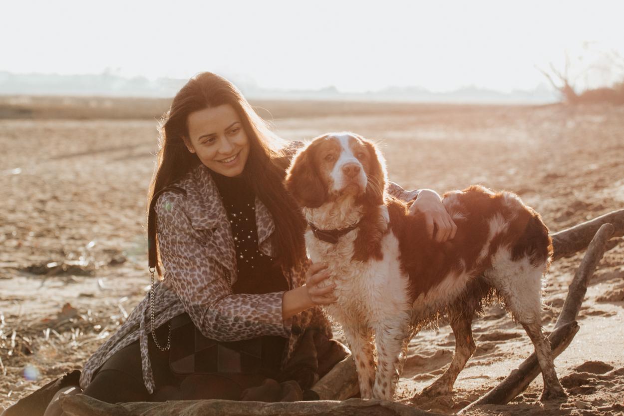 Séance lifestyle famille chiens à la plage épagneul