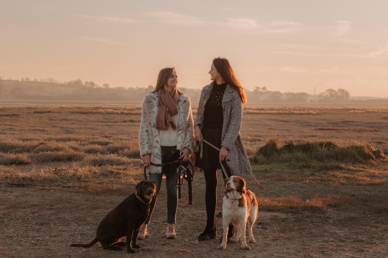 Séance famille mère fille chiens labrador et épagneul golden hour