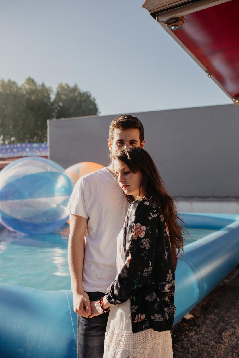 amoureux piscine bulles fête foraine
